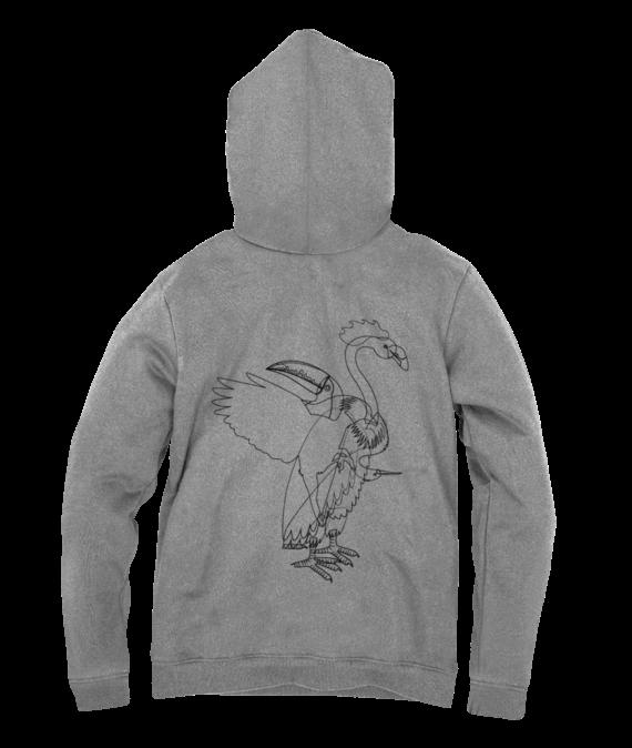 gray aves back hoodie