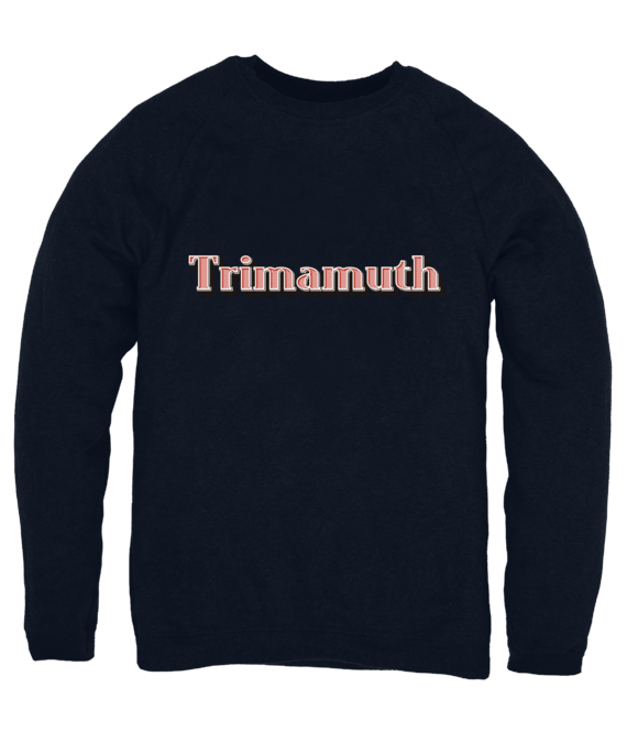 mens jumper trimamuth text navy blue